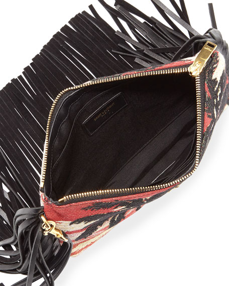 www yves saint laurent bag - Saint Laurent Monogram Fringe Jacquard Clutch Bag, Multi
