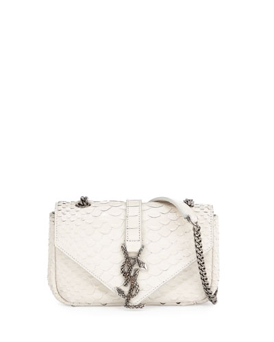 Monogram Baby Chain Python Crossbody Bag, White/Black