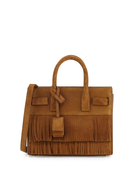 ysl clutch bag sale - Saint Laurent Sac de Jour Nano Suede Fringe Satchel Bag, Tan