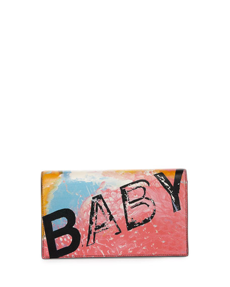 Saint Laurent Monogram Small Baby Leather Clutch Bag, Rosa/Multi