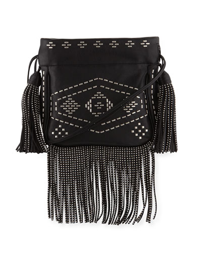 Monogram Studded Fringe Bucket Bag, Black