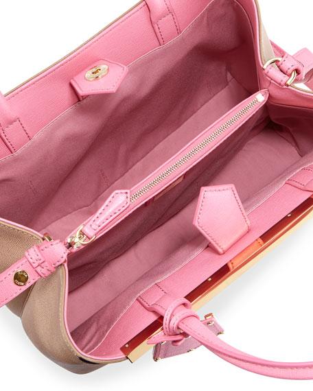 Petite Monster 2Jours Tote Bag, Tan/Pink/Yellow