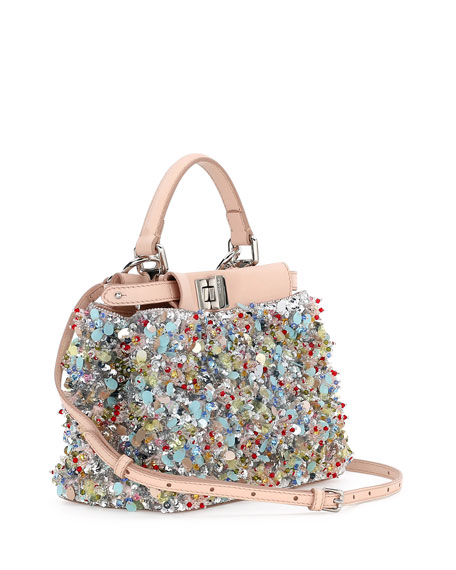 Peekaboo Mini Beaded Flower Satchel Bag, Blue/Pink/Multi