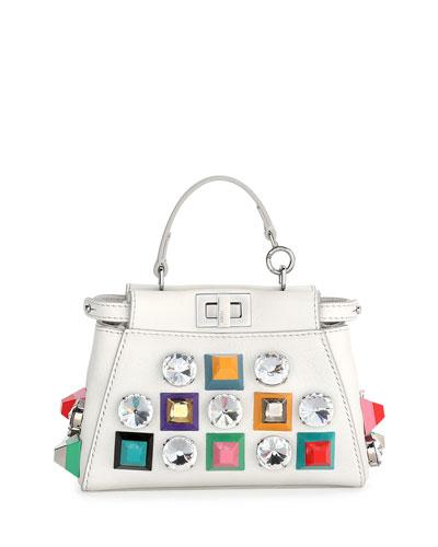 Peekaboo Micro Studded Satchel Bag, White Multi