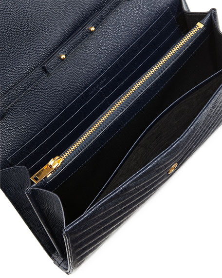 Saint Laurent Monogram Leather Wallet-on-Chain Bag, Marine Navy