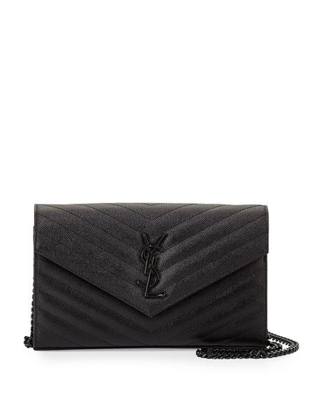Saint Laurent Monogram Grainy Leather Wallet-on-Chain, Black
