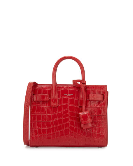 Saint Laurent Sac de Jour Nano Croc-Embossed Satchel