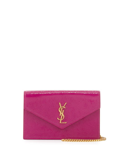 Monogram Glossy Wallet-on-Chain Bag, Electric Pink