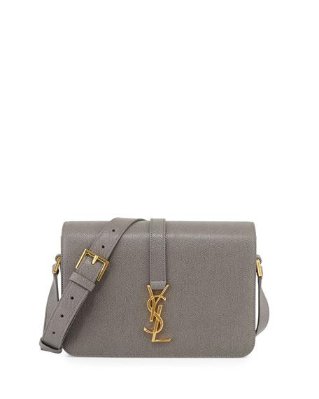 Saint Laurent Monogram Medium Calf Crossbody Bag, Fog Gray