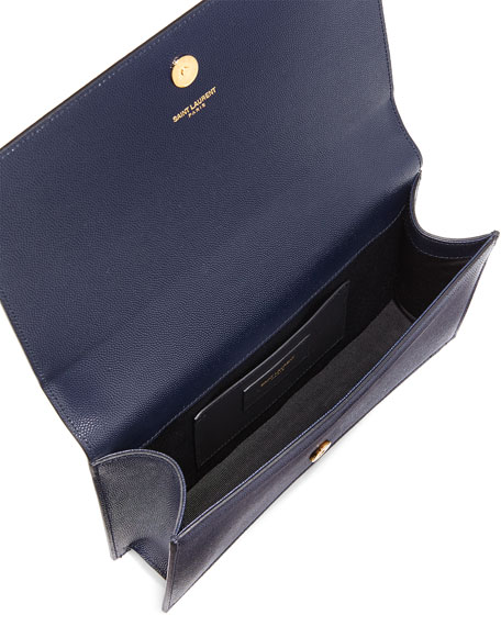Saint Laurent Monogram Calfskin Clutch Bag, Marine Navy