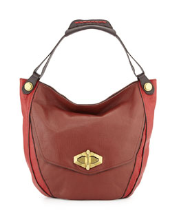 Julia Colorblock Hobo Bag, Chestnut/Multi