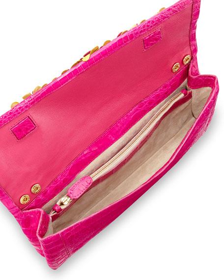 Floral Crocodile Clutch Bag, Pink/Multi