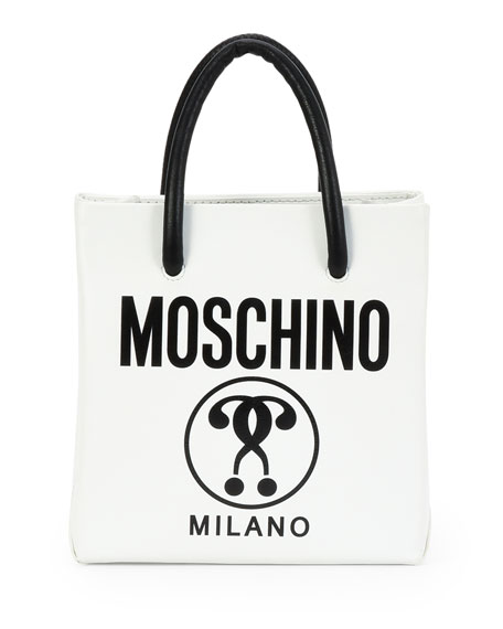 Small Logo-Print Shopping Tote Bag, White/Black