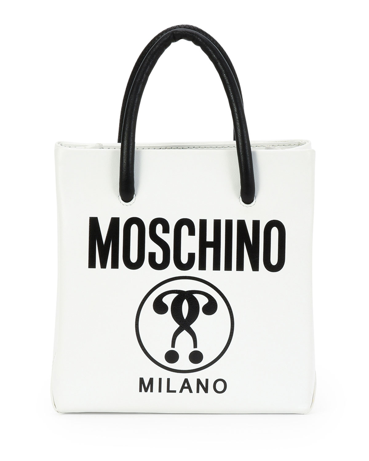 60db73ff1f Moschino Small Logo-Print Shopping Tote Bag, White/Black | Neiman Marcus
