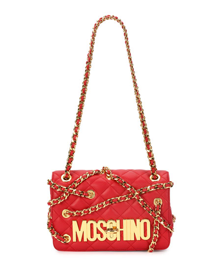 Moschino Chains Quilted Large Shoulder Bag, Red