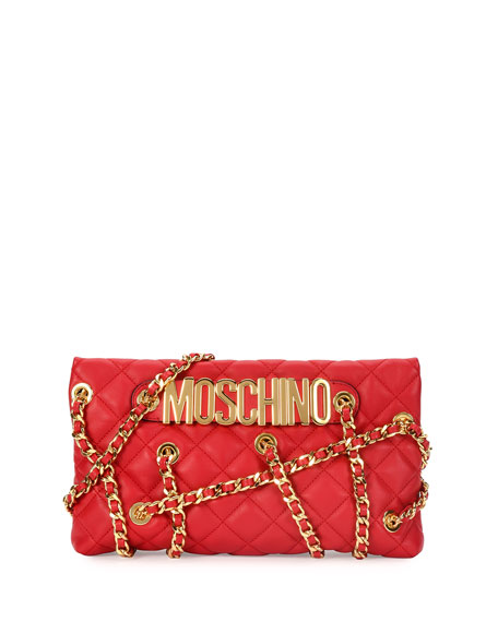 Moschino Chains Quilted Clutch Bag, Red