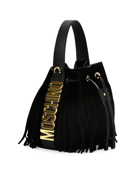 Moschino Logo Leather Drawstring Shoulder Bag