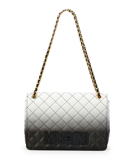 Moschino Ombre Quilted Large Shoulder Bag, Black
