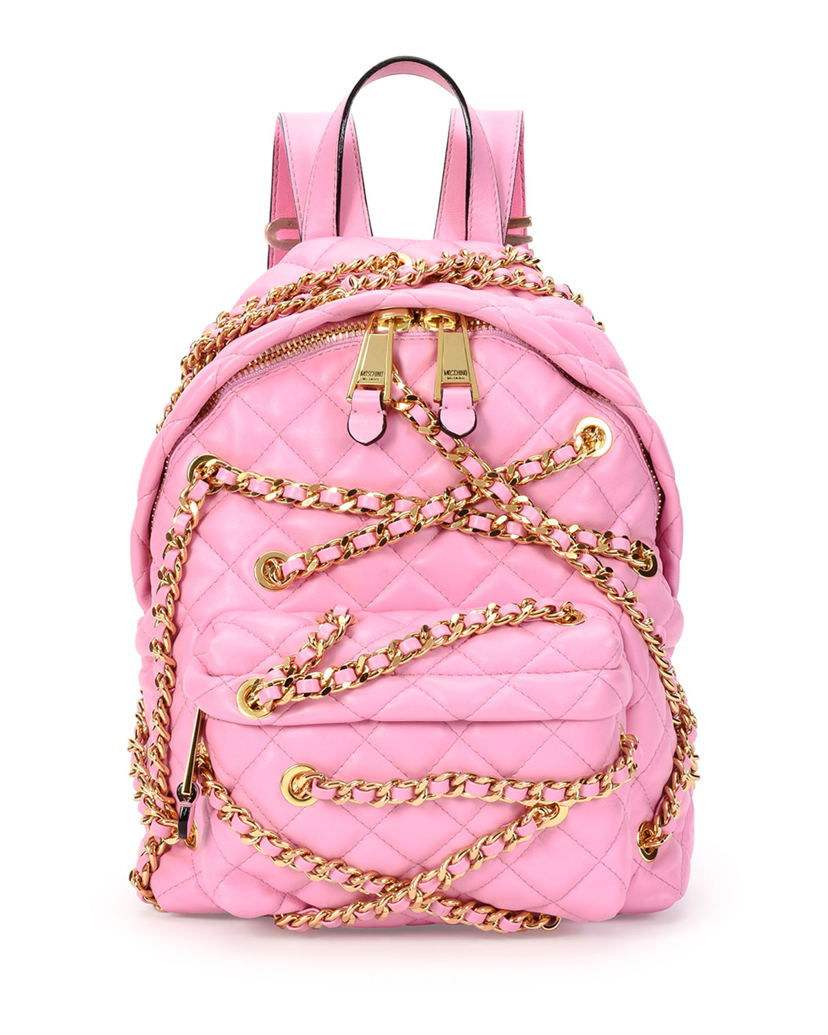 0a469f9a57 Moschino Chains Quilted Leather Backpack, Pink | Neiman Marcus