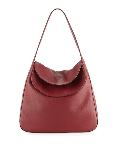 Vitello Daino Doubled Flap-Top Hobo Bag, Wine (Cerise)