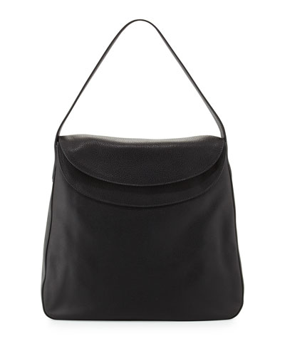 Cervo Doubled Flap-Top Leather Hobo Bag