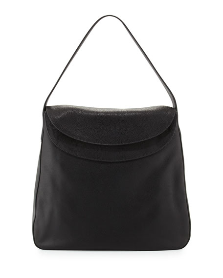 Prada Cervo Doubled Flap-Top Leather Hobo Bag, Black (Nero)