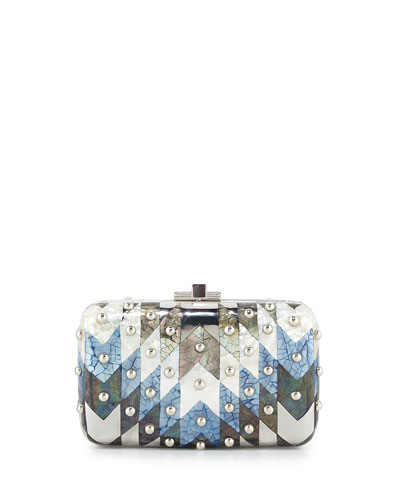 Metallic Chevron Dome-Studded Clutch Bag, Silver Blue Multi