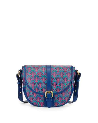 Carnaby Printed Leather Saddle Bag, Navy