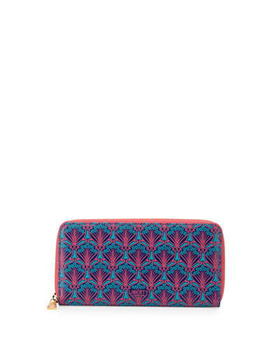 Large Printed Leather Zip Wallet, Navy