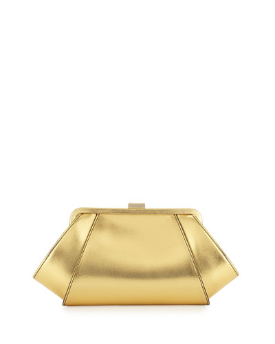 Angled Metallic Leather Evening Clutch Bag, Gold
