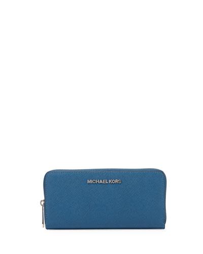 Jet Set Travel Continental Saffiano Wallet, Steel Blue