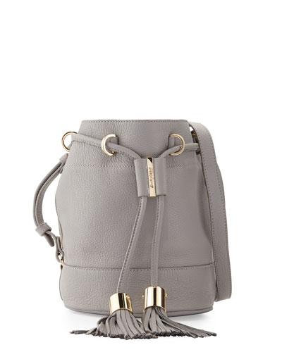 Vicki Small Leather Bucket Bag, Cashmere Gray