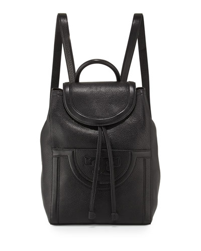 Serif-T Leather Backpack, Black
