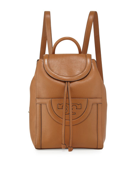 Tory Burch Serif-T Leather Backpack, Bark