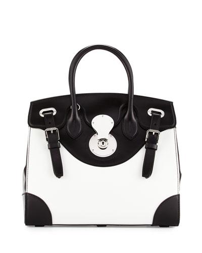 Bicolor Ricky 33 Satchel Bag, White/Black