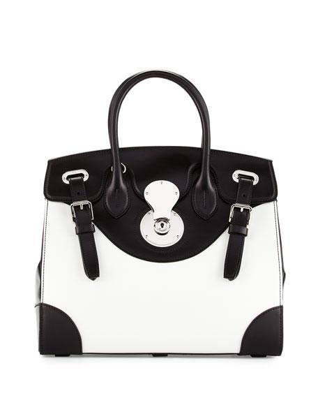 Ralph Lauren Bicolor Ricky 33 Satchel Bag, White/Black