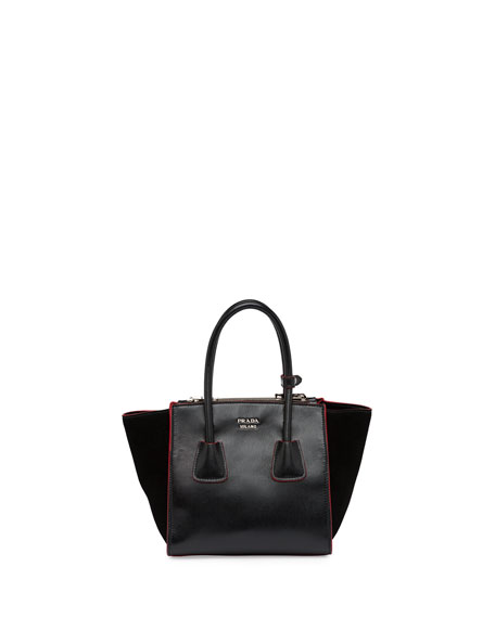 Prada Calfskin and Suede Mini Twin-Pocket Tote Bag, Black (Nero)
