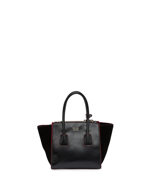 fd05bc48f5f Prada Calfskin and Suede Mini Twin-Pocket Tote Bag, Black (Nero ...