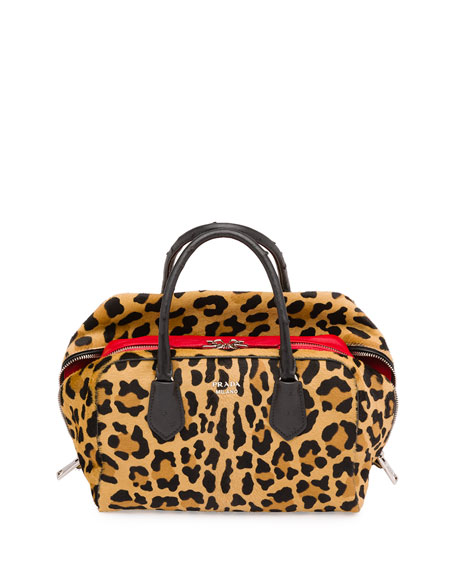 PradaCalf Hair & Ostrich Medium Inside Bag, Leopard/Red/Black