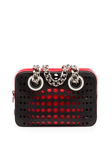 Prada City Fori Perforated Chain Shoulder Bag, Black/Orange/Red (Nero+Lacca)