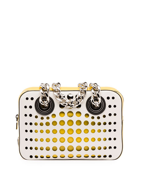 Prada City Fori Perforated Chain Shoulder Bag, White/Yellow (Talco+Sole)