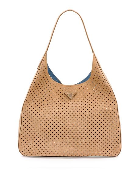 Prada Suede Perforated Shoulder Bag, Tan (Cammello)