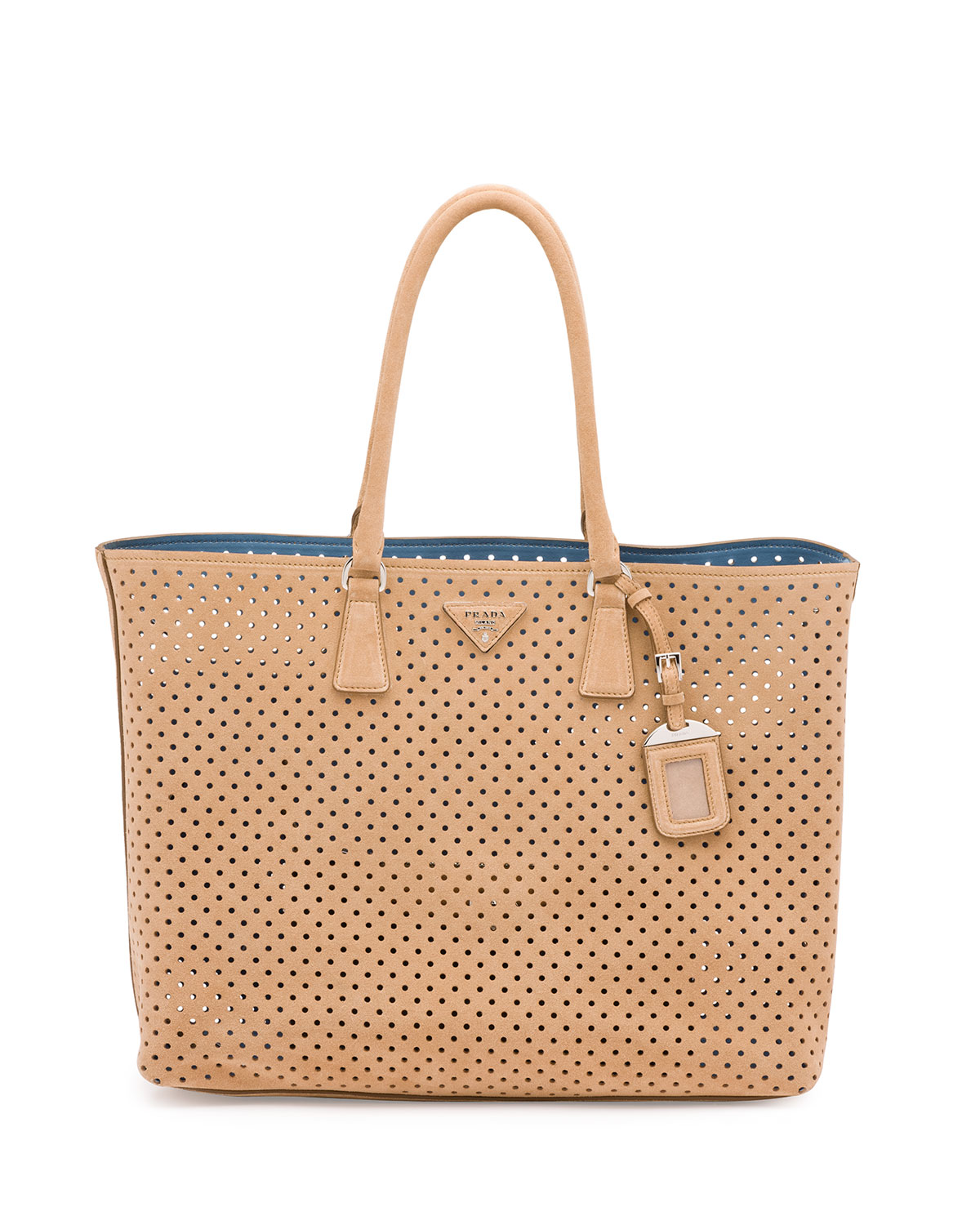 Suede Perforated Tote Bag Tan Cammello