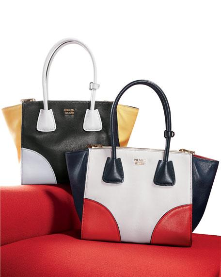Glace Calfskin Tricolor Tote Bag, Black/White/Yellow (Nero/Talco/Sole)