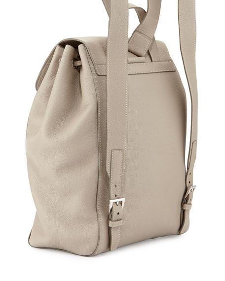 Vitello Daino Backpack, Light Gray (Pomice)