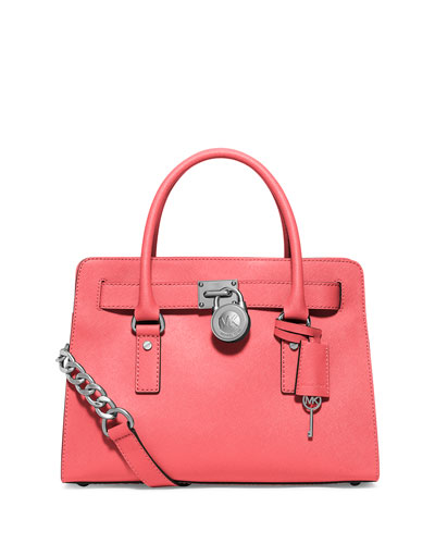 Hamilton Saffiano East-West Satchel Bag, Coral