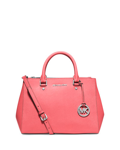 Sutton Medium Satchel Bag, Coral