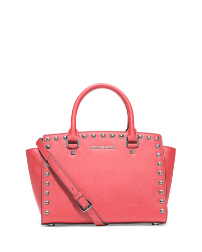 Selma Stud Medium Zip Satchel Bag, Coral
