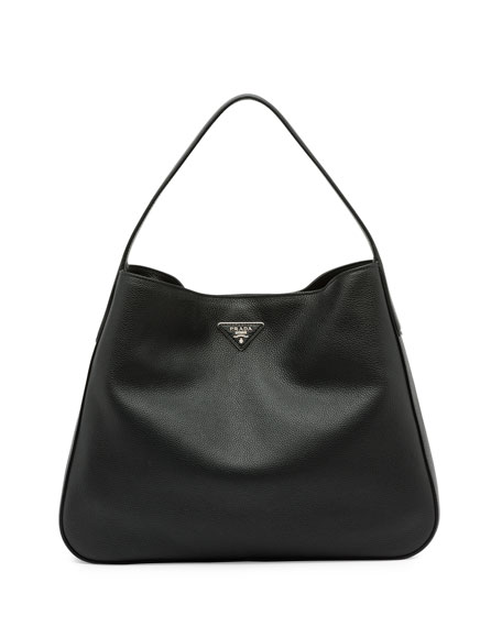 Prada Vitello Daino Medium Wide-Strap Hobo Bag, Black