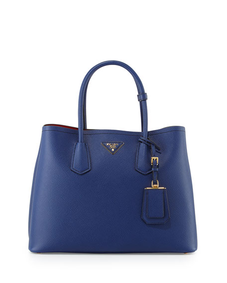 Prada Saffiano Cuir Double Medium Tote Bag, Navy/Red